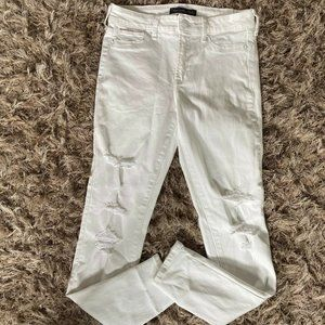 A&F Distressed White High Rise Waist Jeans 25